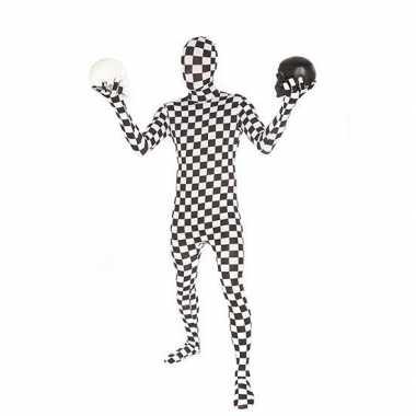Morphsuit carnavalpak zwart wit geblokt