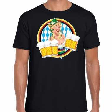 Oktoberfest bierfeest drank fun t-shirt carnavalpak zwart met beierse kleuren voor heren