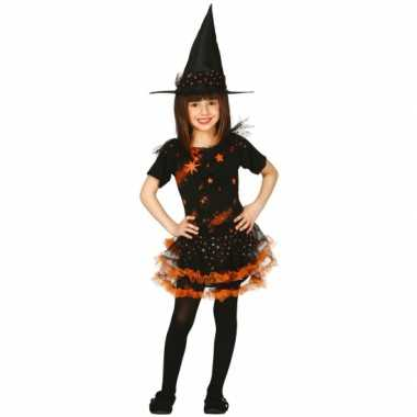 Oranje heksencarnavalpak kinderen