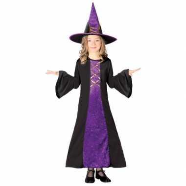 Paarse heksencarnavalpak kinderen