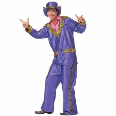 Paarse verkleed carnavalpak voor heren