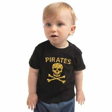 Piraten carnavalpak shirt goud glitter zwart voor peuters