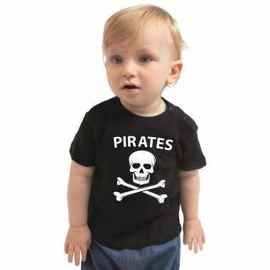 Piraten carnavalpak shirt zwart voor babys