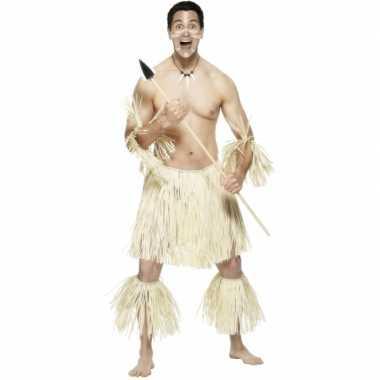 Rieten hawaiicarnavalpak voor mannen