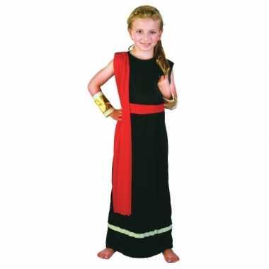 Romeins carnavalpak zwart rood voor meiden