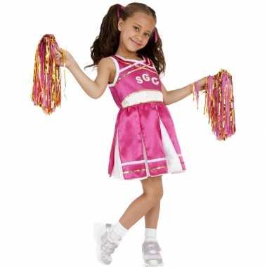 Roze cheerleader meisjes carnavalpak