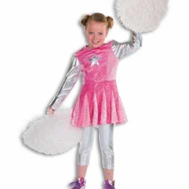 Roze cheerleaders carnavalpaks voor meisjes