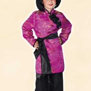 Roze geisha carnavalpak voor meisjes