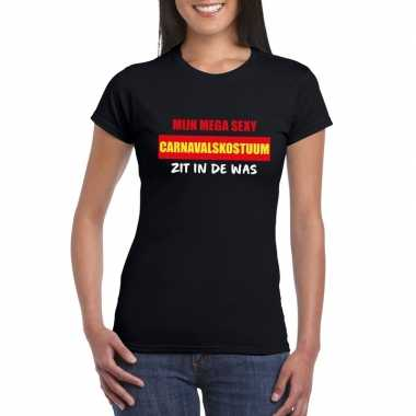 Sexy carnavalpak zit in de was dames t-shirt zwart