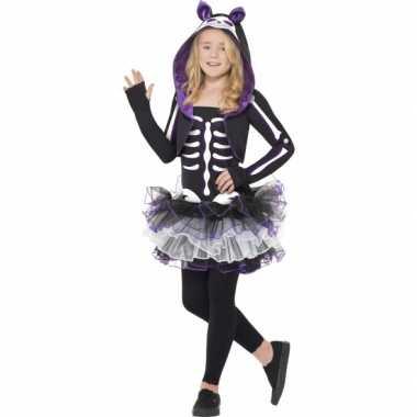 Skelleten carnavalpak kat voor meisjes
