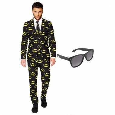 Verkleed batman net heren carnavalpak maat 54 xxl met gratis zonnebril