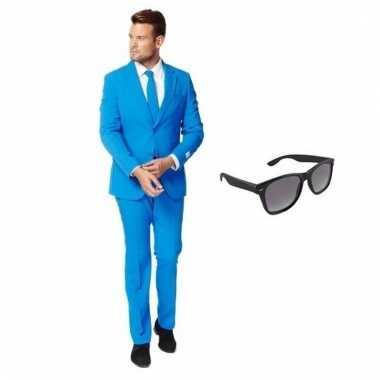 Verkleed blauw net heren carnavalpak maat 58 (4xl) met gratis zonnebr