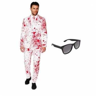 Verkleed bloed print heren carnavalpak maat 50 (l) met gratis zonnebr