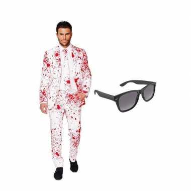 Verkleed bloedvlekken net heren carnavalpak maat 54 (xxl) met gratis