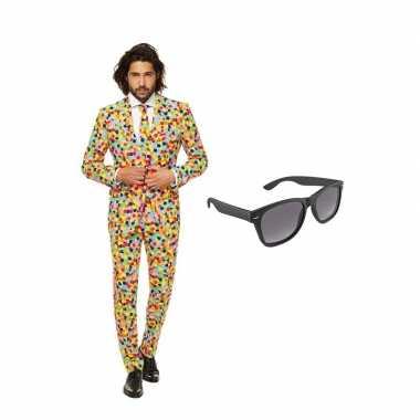 Verkleed confetti print net heren carnavalpak maat 54 xxl met gratis zonnebril