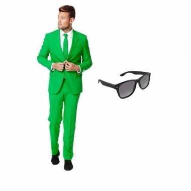 Verkleed groen net heren carnavalpak maat 52 (xl) met gratis zonnebri