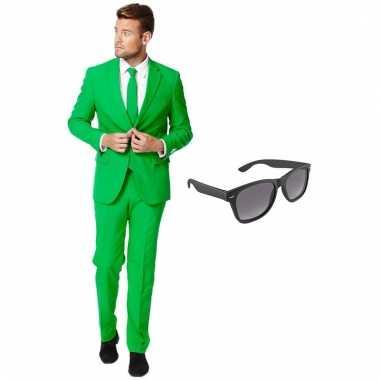 Verkleed groen net heren carnavalpak maat 54 (xxl) met gratis zonnebr