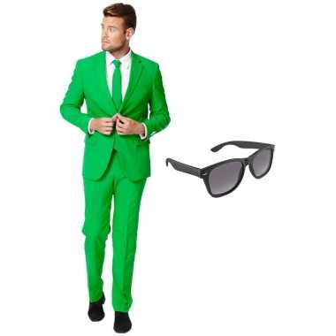 Verkleed groen net heren carnavalpak maat 56 xxxl met gratis zonnebril