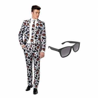 Verkleed halloween print net heren carnavalpak maat 50 (l) met gratis