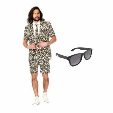 Verkleed luipaard print net heren carnavalpak maat 52 (xl) met gratis