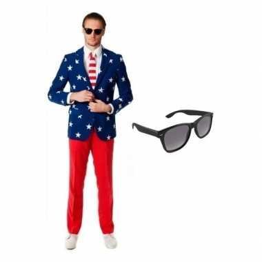 Verkleed met amerikaanse vlag print heren carnavalpak maat 48 (m) met