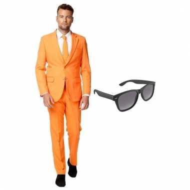 Verkleed oranje net heren carnavalpak maat 54 (xxl) met gratis zonneb