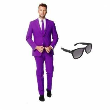 Verkleed paars net heren carnavalpak maat 50 (l) met gratis zonnebril