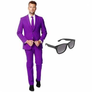 Verkleed paars net heren carnavalpak maat 54 (xxl) met gratis zonnebr