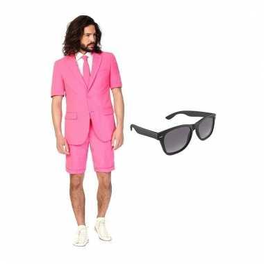 Verkleed roze net heren carnavalpak maat 46 (s) met gratis zonnebril