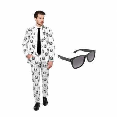 Verkleed stormtrooper print net heren carnavalpak maat 50 (l) met gra
