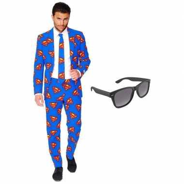 Verkleed superman net heren carnavalpak maat 54 (xxl) met gratis zonn