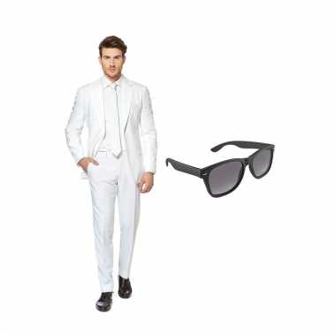 Verkleed wit net heren carnavalpak maat 56 (xxxl) met gratis zonnebri