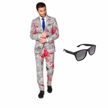 Verkleed zombie net heren carnavalpak maat 50 (l) met gratis zonnebri