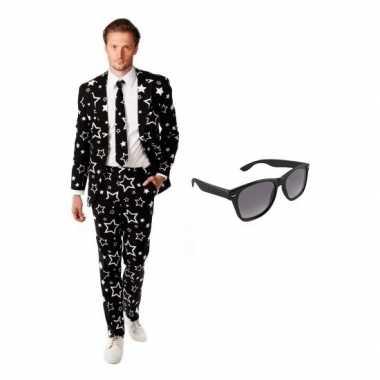 Verkleed zwart met sterren print heren carnavalpak maat 52 (xl) met g