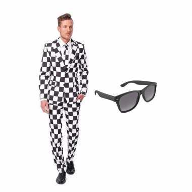 Verkleed zwart/wit geblokt print net heren carnavalpak maat 50 (l) me