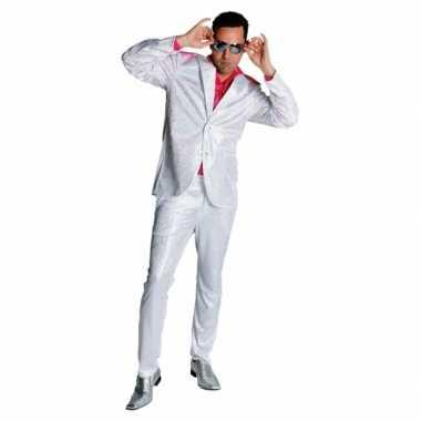 Witte glitter carnavalpak voor heren