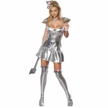 Zilveren tinnen carnavalpak vrouw