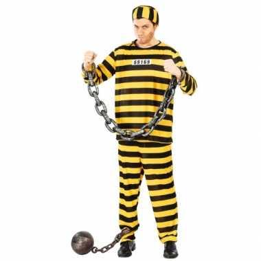 Zwart/geel gevangene carnavalpak