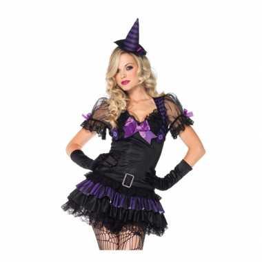 Zwart paars heksen carnavalpak
