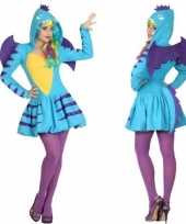 Carnaval feest blauwe draak verkleed carnavalpak voor dames