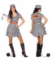Carnaval feest boeven gevangenen bonnie verkleedcarnavalpak jurkje voor dames
