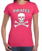 Carnavalpak fout piraten shirt roze dames