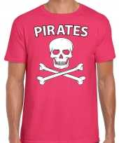 Carnavalpak fout piraten shirt roze heren