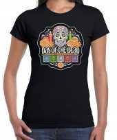 Day of the dead dag van de doden halloween verkleed t-shirt carnavalpak zwart voor dames