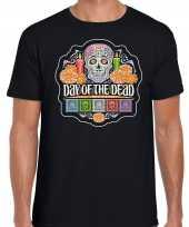 Day of the dead dag van de doden halloween verkleed t-shirt carnavalpak zwart voor heren