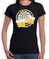 Oktoberfest bierfeest drank fun t-shirt carnavalpak zwart met beierse kleuren voor dames